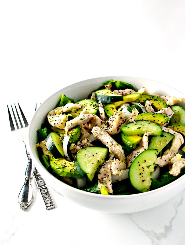 Chicken Avocado Salad is gluten-free, paleo-friendly, and full of flavor! | spiritedandthensome.com