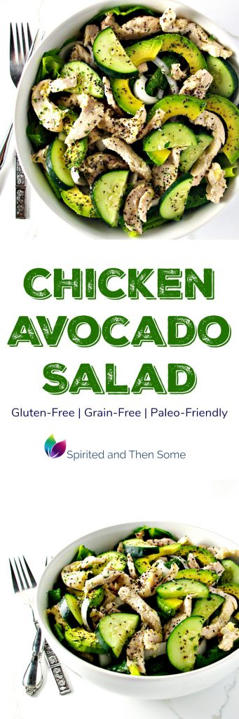 Chicken Avocado Salad is gluten-free, grain-free, and paleo-friendly with cucumbers, onion, and garlic thrown in the mix! | spiritedandthensome.com