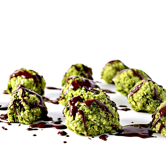 Chocolate-Drizzled Matcha Energy Bites