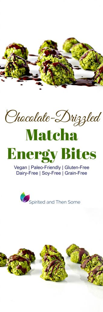 Chocolate-Drizzled Matcha Energy Bites are delicious vegan and paleo-friendly! | spiritedandthensome.com