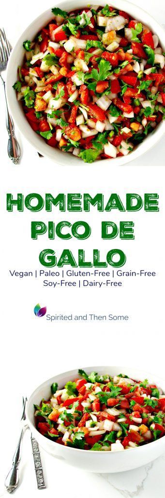 Homemade Pico de Gallo is a delicious, nutritious, vegan, and paleo appetizer recipe! | spiritedandthensome.com