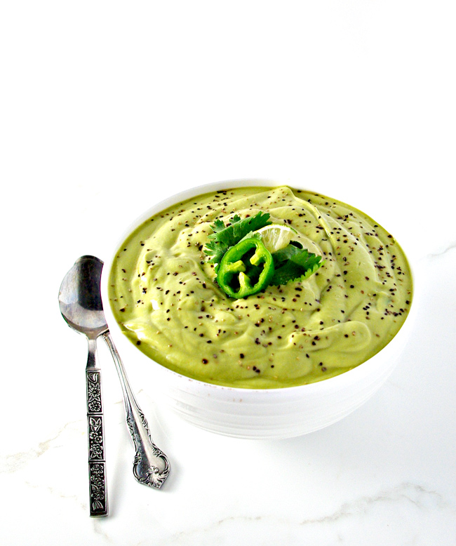 Paleo Avocado Soup is the perfect soup for summer because it is served CHILLED! | spiritedandthensome.com