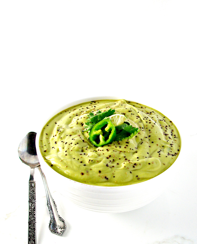 Paleo Avocado Soup is full of delicious flavor while being gluten-free, dairy-free, soy-free, and grain-free! | spiritedandthensome.com
