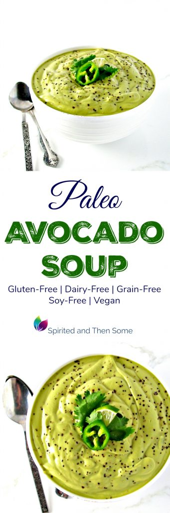 Paleo Avocado Soup is full of cilantro, lime, and garlic! It's also gluten-free, dairy-free, soy-free, and grain-free! | spiritedandthensome.com