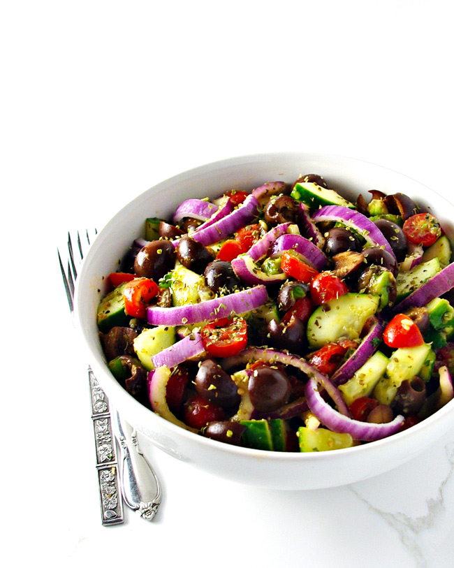 Paleo Greek Salad is full of delicious crunch! | spiritedandthensome.com