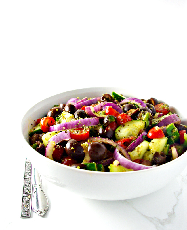 Restaurant-style quality, this Paleo Greek Salad will wow your tastebuds AND your pocketbook! | spiritedandthensome.com