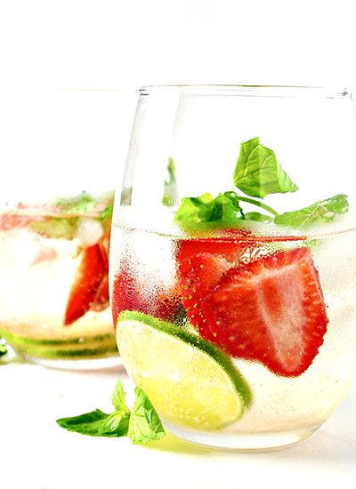 Strawberry Lime Sparkling Water is vegan, gluten-free, ready in minutes, and totally thirst-quenching! | spiritedandthensome.com