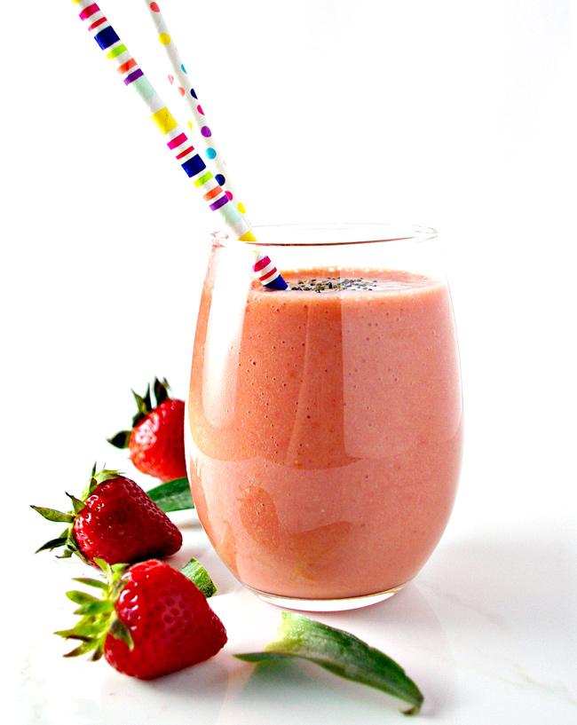 Tropical Fruit Power Smoothie is vegan, paleo, delicious, and healthy!   spiritedandthensome.com