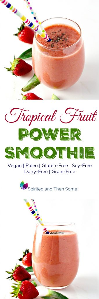 Tropical Fruit Power Smoothie is vegan, paleo, and full of pineapple, strawberries, mango, and peaches! | spiritedandthensome.com