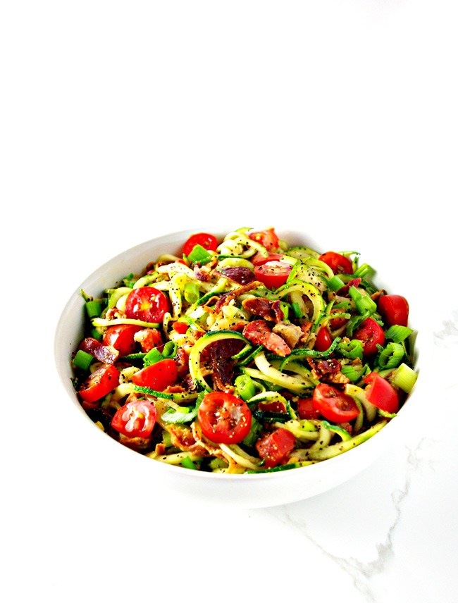 This Bacon Zoodle Salad is crunchy and delicious and succulent and perfect for lunch, brunch, and even meal prep! | spiritedandthensome.com