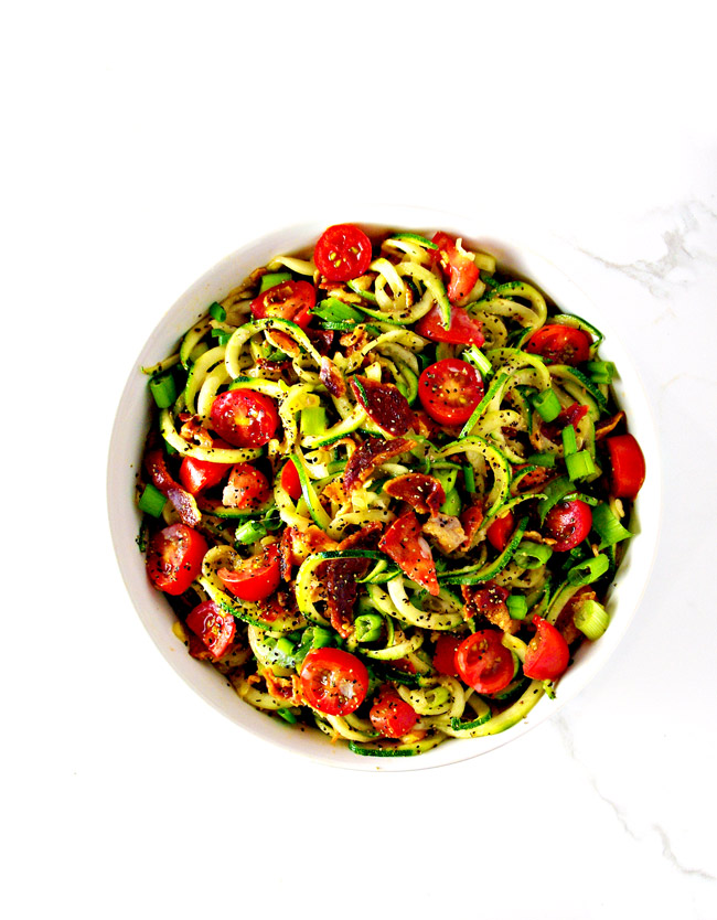 This Bacon Zoodle Salad is a delicious, healthy twist on a traditional BLT salad! Grain-free, gluten-free, and paleo! | spiritedandthensome.com