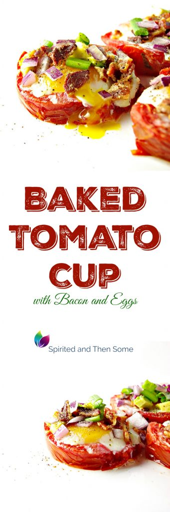 This Baked Tomato Cup with Bacon and Eggs is a delicious paleo recipe! | spiritedandthensome.com