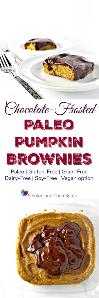 Chocolate-Frosted Paleo Pumpkin Brownies are gluten-free and dairy-free, too! Rich and creamy and super delicious! | spiritedandthensome.com