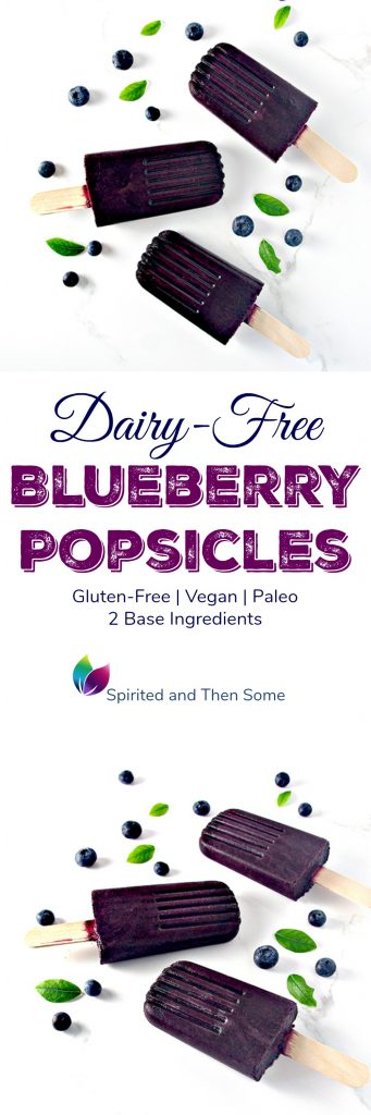 Dairy-Free Blueberry Popsicles are gluten-free, vegan, paleo, and made with just two base ingredients! | spiritedandthensome.com