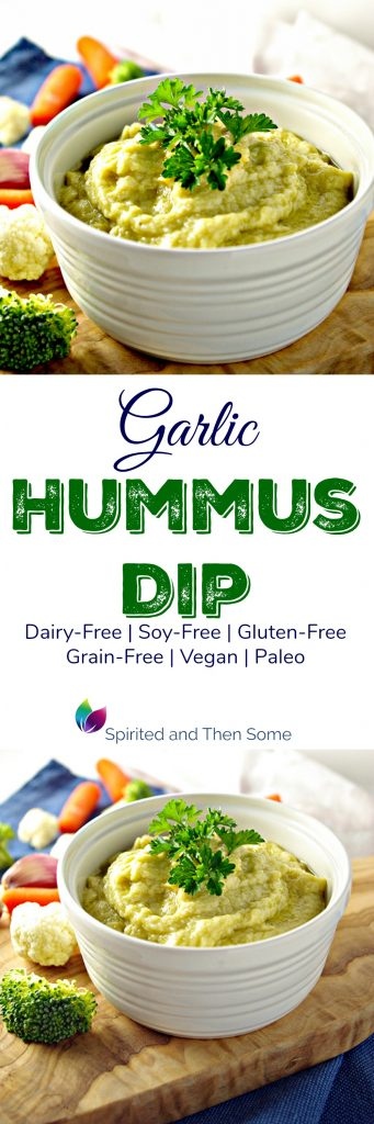 Garlic Hummus Dip is dairy-free and soy-free as well as vegan and paleo! | spiritedandthensome.com