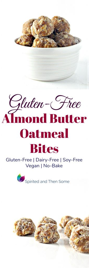 Gluten-Free Almond Butter Oatmeal Bites are also dairy-free, soy-free, vegan, and no-bake! | spiritedandthensome.com