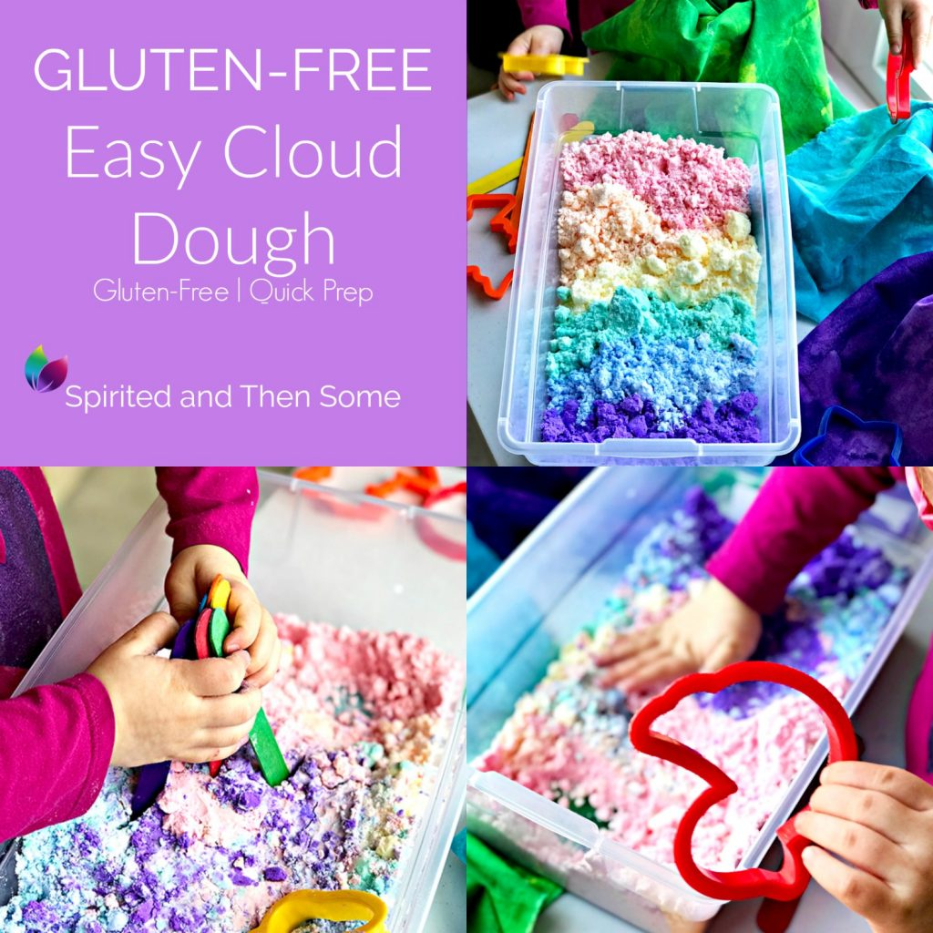 Gluten-Free Easy Cloud Dough is easy to prep and store for countless sensory play opportunities for preschoolers! | spiritedandthensome.com