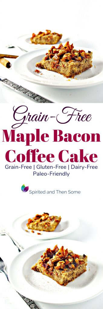 Grain-Free Maple Bacon Coffee Cake is a delicious gluten-free, dairy-free, and paleo-friendly fall holiday recipe! | spiritedandthensome.com