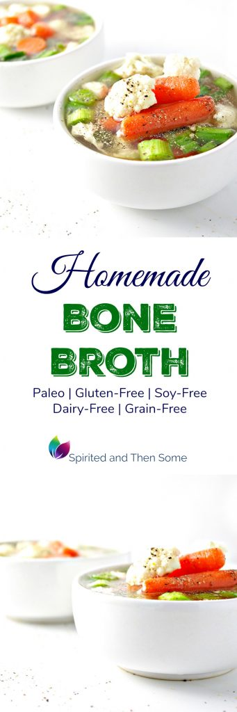 Homemade Bone Broth is the perfect gluten-free, dairy-free, soy-free, and grain-free base for soups and stews! | spiritedandthensome.com