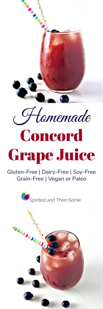 Homemade Concord Grape Juice is a deliciously refreshing gluten-free drink that can be either vegan or paleo! | spiritedandthensome.com