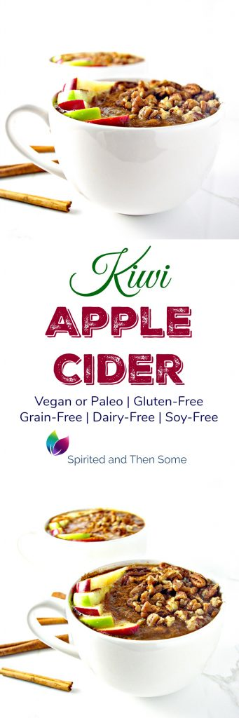 Kiwi Apple Cider is a delicious twist on a comforting fall drink! Gluten-free, dairy-free, soy-free, grain-free, and vegan or paleo! | spiritedandthensome.com