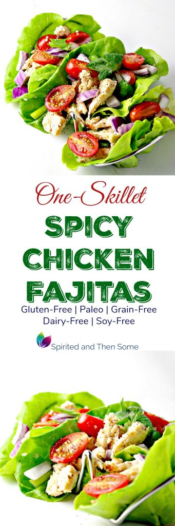 One-Skillet Spicy Chicken Fajitas are gluten-free, paleo, grain-free, dairy-free, soy-free, and ridiculously delicious! | spiritedandthensome.com