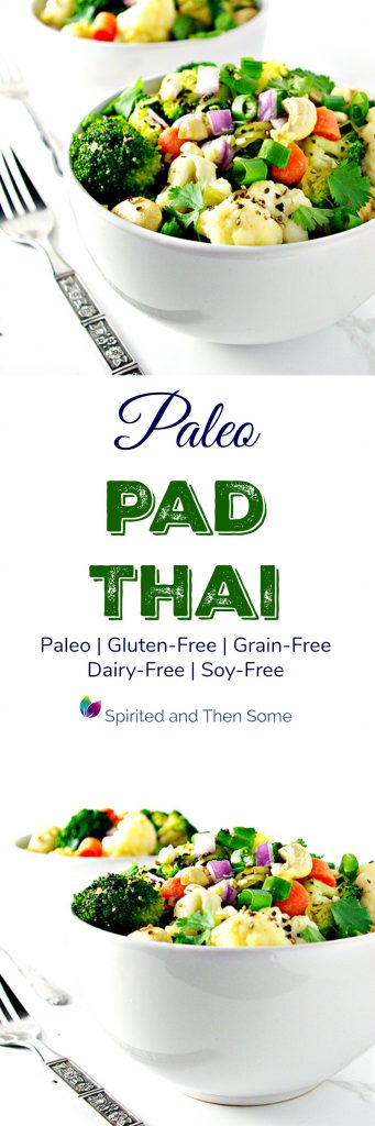 Paleo Pad Thai is a delicious gluten-free, grain-free, and dairy-free main dish recipe! | spiritedandthensome.com