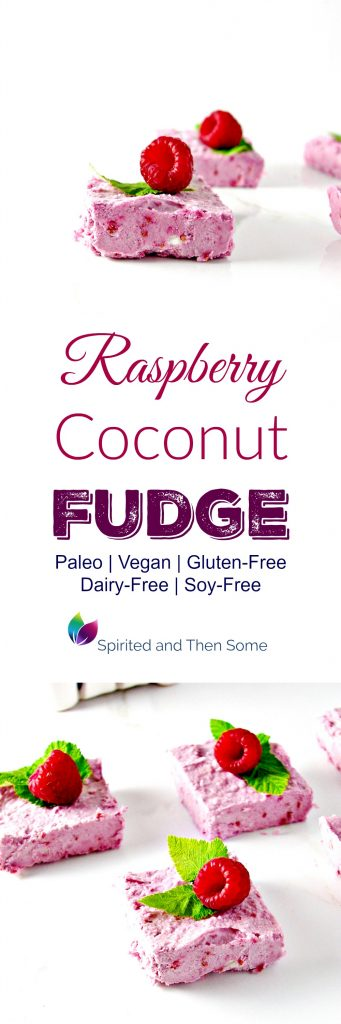 Raspberry Coconut Fudge is vegan, paleo, gluten-free, dairy-free, big on flavor, and utterly tantalizing! | spiritedandthensome.com
