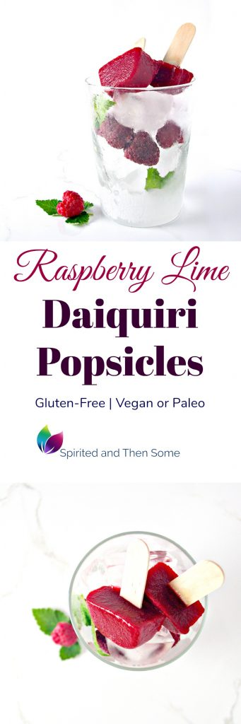 Raspberry Lime Daiquiri Popsicles are deliciously refreshing and vegan or paleo! Perfect for summer parties! | spiritedandthensome.com