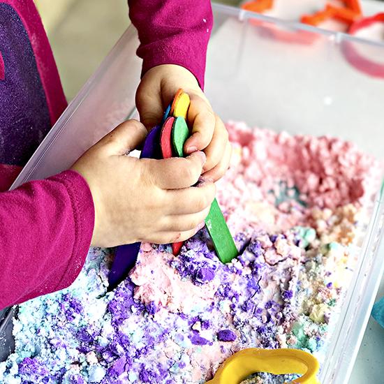 Sensory Play Ideas for Preschoolers Gluten-Free Easy Cloud Dough recipe! | spiritedandthensome.com