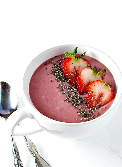 Try this Strawberry Coconut Smoothie Bowl full of strawberries, coconut, cauliflower, protein, and a dash of sweetener! GF + DF + VG + Paleo!   spiritedandthensome.com