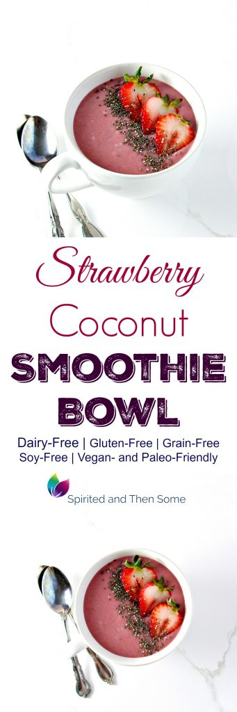 This decadent Strawberry Coconut Smoothie Bowl is dairy-free, gluten-free, and comes with a not-so-secret ingredient: STEAMED CAULIFLOWER! | spiritedandthensome.com