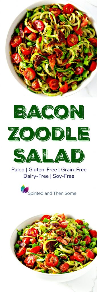 This paleo Bacon Zoodle Salad is the perfect blend of delicious, crunchy flavors and sweet, succulent fruits and veggies! Grain-free and paleo-friendly! | spiritedandthensome.com