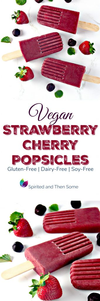 Vegan Strawberry Cherry Popsicles are perfect for summer! They are also dairy-free, gluten-free, and soy-free! | spiritedandthensome.com