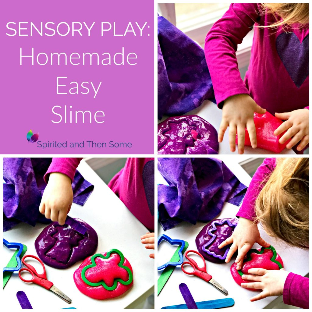 Sensory Play Ideas for Preschoolers: Homemade Easy Slime recipe! Ready in minutes for hours of fun! | spiritedandthensome.com