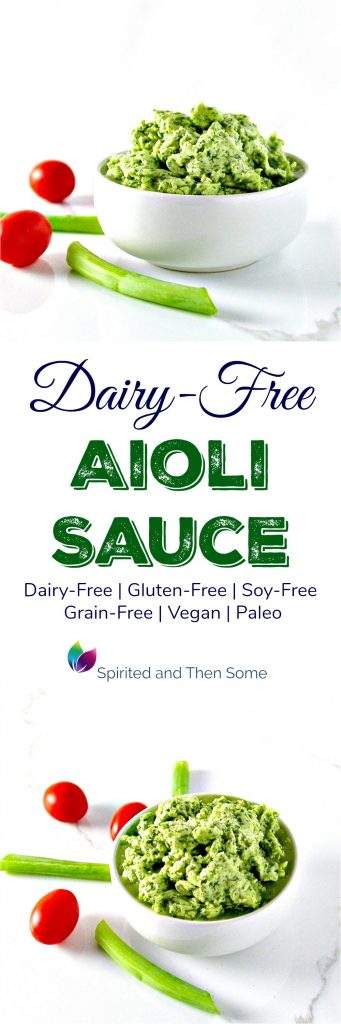 This Mediterranean Dairy-Free Aioli Sauce is perfect with hearty dinners and light wraps and salads! It's also vegan, paleo, gluten-free, grain-free, and soy-free, too! | spiritedandthensome.com