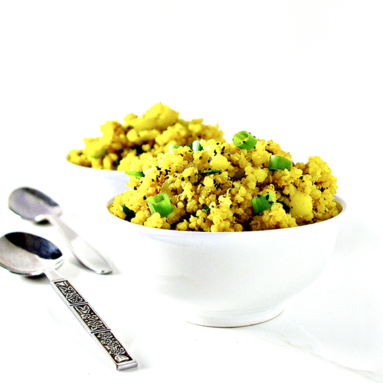 Cauliflower Turmeric Quinoa Bowls are vegan and gluten-free with crunchy green onions and a hint of cumin!   sporotedandthensome.com