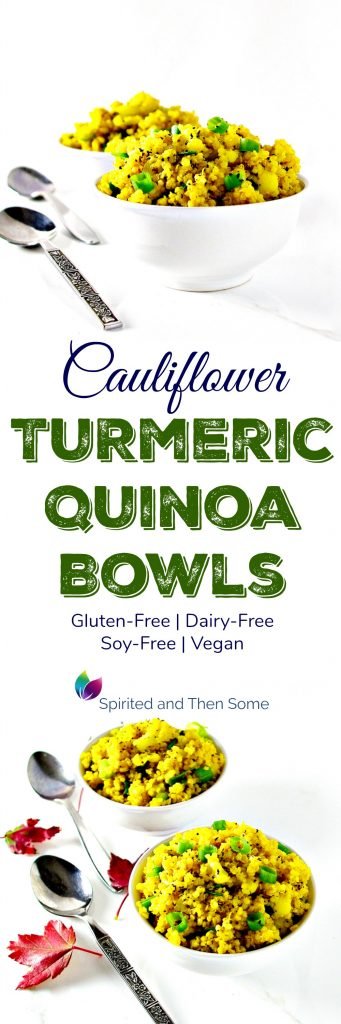 Cauliflower Turmeric Quinoa Bowls are deliciously gluten-free, dairy-free, soy-free, and vegan with a hint of cumin and a sprinkle of crunchy green onions! They also boast a hint of cumin and crunchy green onions! | spiritedandthensome.com