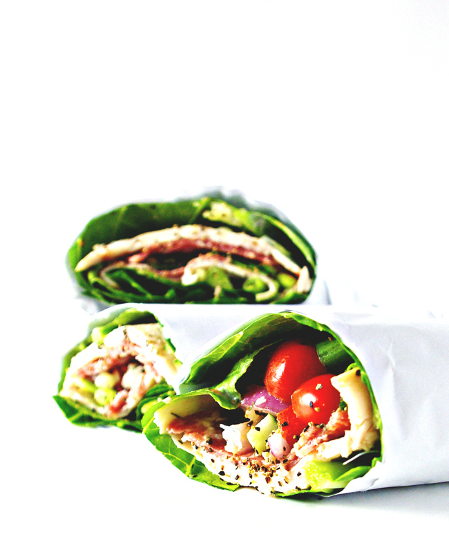 Deli Sandwich Lettuce Wraps are delicious gluten-free and grain-free, filling and ready in minutes! Paleo-friendly, dairy-free, and filling! | spiritedandthensome.com
