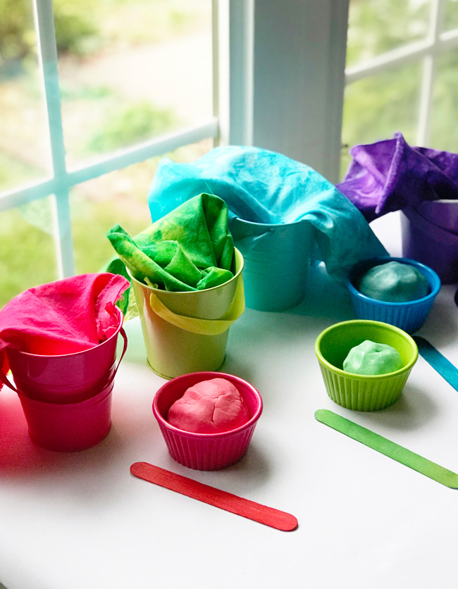 Gluten-Free Playdough recipe setup at home! | spiritedandthensome.com