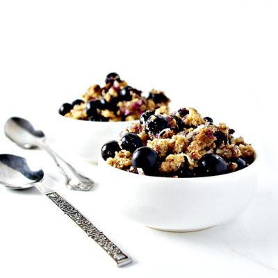 Grain-Free Blueberry Crumble is more spice than sweet, totally delicious, and vegan and paleo! | spiritedandthensome.com
