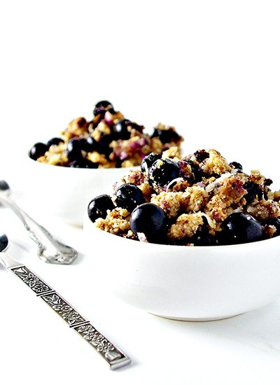 Grain-Free Blueberry Crumble is more spice than sweet, totally delicious, and vegan and paleo!   spiritedandthensome.com