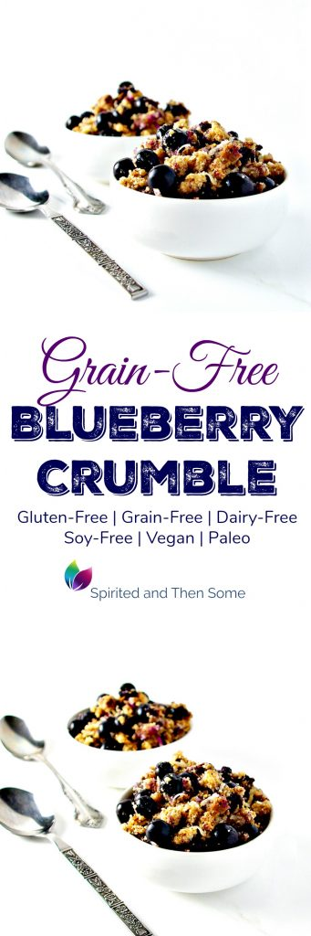 Grain-Free Blueberry Crumble is vegan, paleo, and the perfect breakfast or dessert recipe! | spiritedandthensome.com