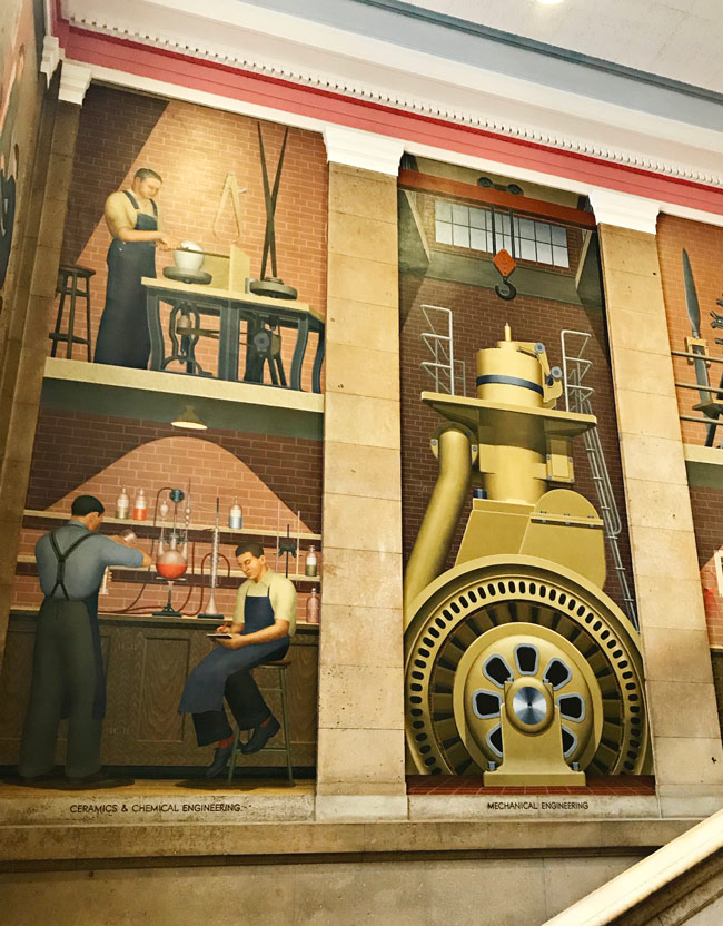 Grant Wood murals at Iowa State University Parks Library in Ames, Iowa! | spiritedandthensome.com