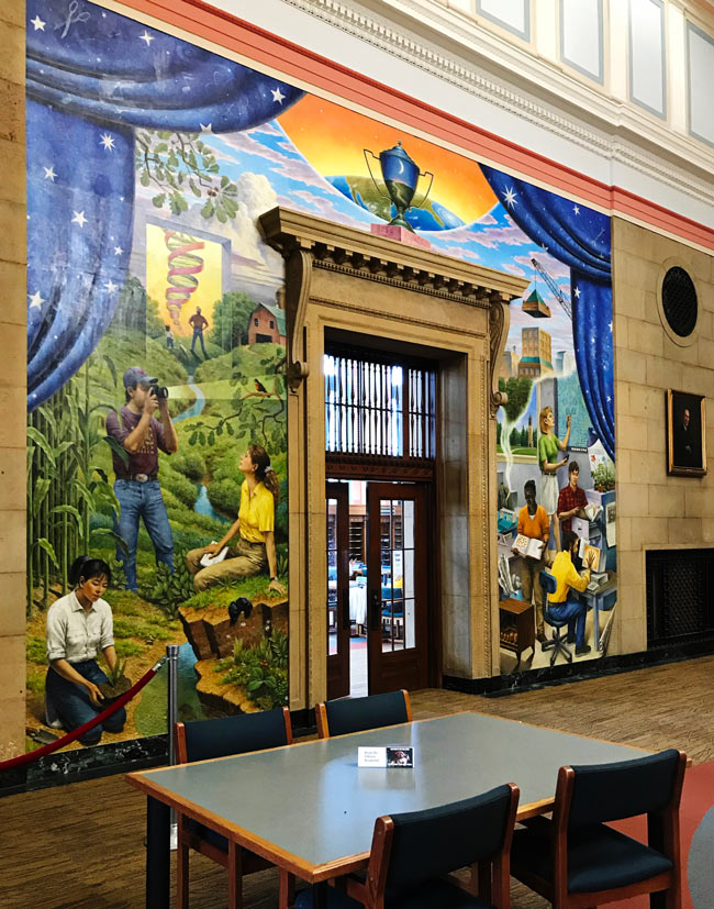 Doug Shelton mural on a wall of Parks Library at Iowa State University in Ames, Iowa! | spiritedandthensome.com
