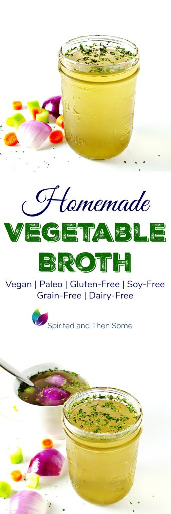 Homemade Vegetable Broth is vegan and paleo and pairs well with countless soups and stews! | spiritedandthensome.com