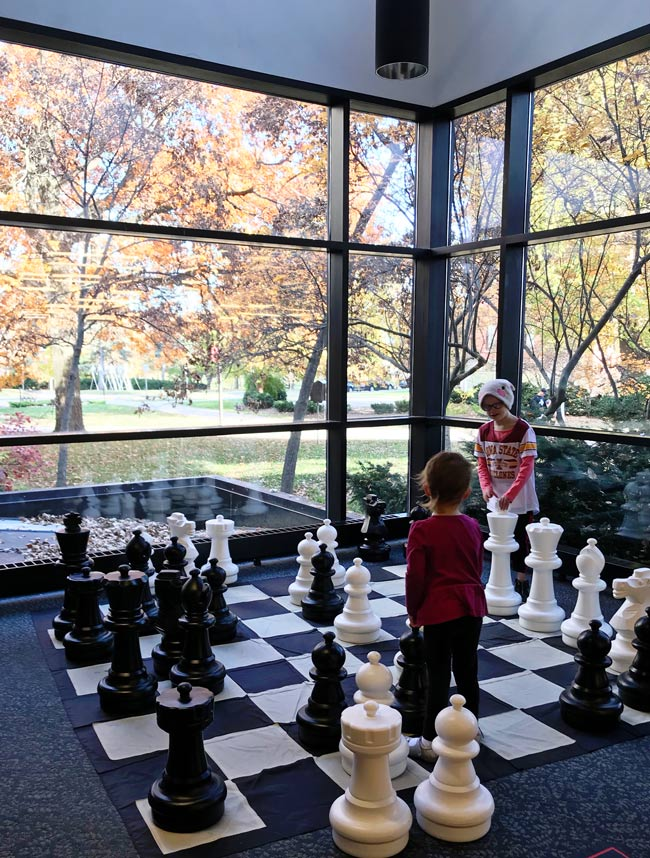 Oversized checkers and chess at Parks Library at Iowa State University in Ames, Iowa! | spiritedandthensome.com