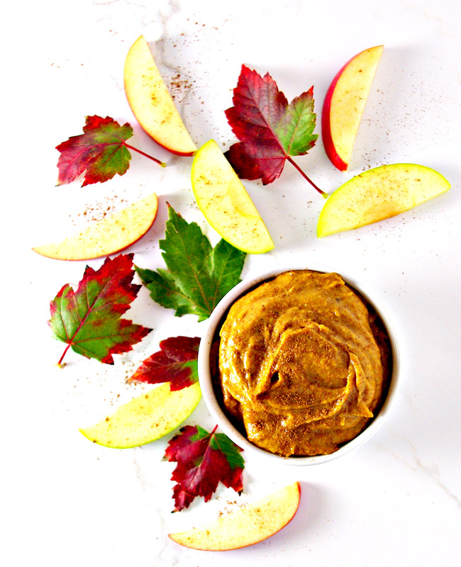 Paleo Pumpkin Pie Dip is a delicious dairy-free dip recipe that pairs well with fruits and veggies! | spiritedandthensome.com