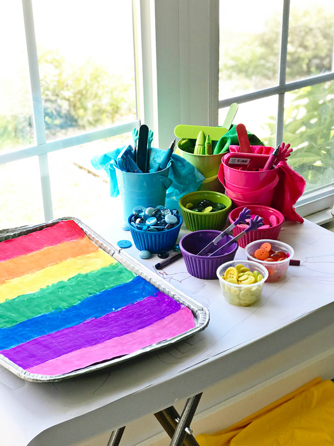 Rainbow Sensory Trays setup with loose parts play activities! | spiritedandthensome.com