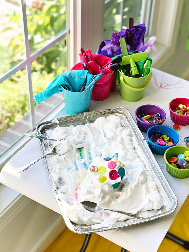 Rainbow Sensory Trays with loose parts and shaving cream! | spiritedandthensome.com